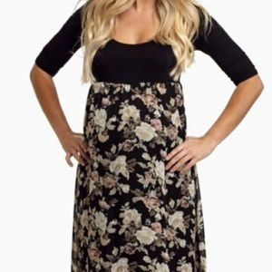 Pink Blush black and floral maternity maxi dress
